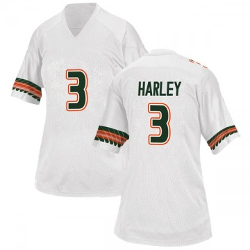 4d04d5a135ff Women s Mike Harley Miami Hurricanes Adidas Game White Alternate College  Jersey